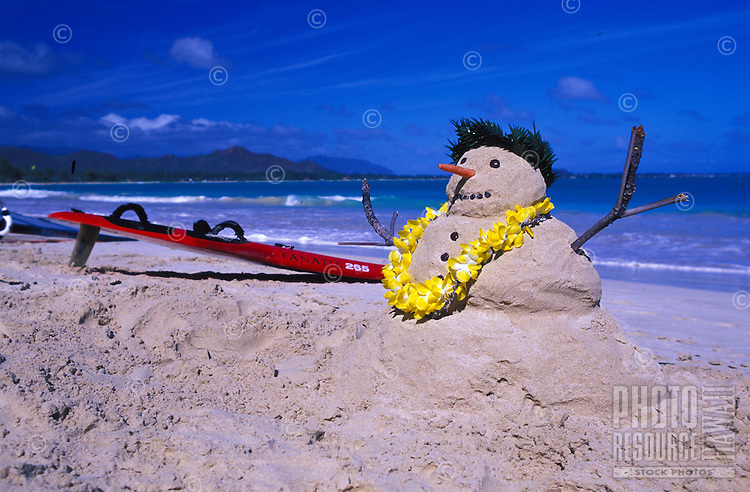 Christmas comes to Hawaii in the form of a snowman made of sand complete with a yellow flower lei on Kailua beach.