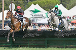 25 Apr 2009: Tatjana's Salute (4th), ridden by Richard Spate; Jellyberry, ridden by Paddy Young in the Daniel Van Clief Memorial filly and mare allowance hurdle race at the Foxfield Races in Charlottesville, Virginia.