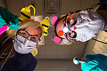 Dana Campbell (the bumblebee) and Dr. Bridget Callaway (the mouse). Dr Callaway at Chaney, Couch and Associates Dentistry told me I should come back tomorrow when she's dressed as a pirate and dong her procedures with her hook.