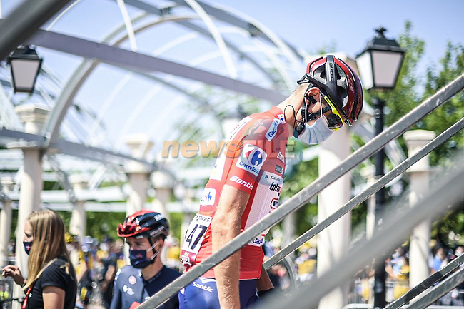 Race leader Rein Taaramäe (EST) Intermarché-Wanty-Gobert Matériaux at sign on before Stage 5 of La Vuelta d'Espana 2021, running 184.4km from Tarancón to Albacete, Spain. 18th August 2021.      <br /> Picture: Charly Lopez/Unipublic | Cyclefile<br /> <br /> All photos usage must carry mandatory copyright credit (© Cyclefile | Unipublic/Charly Lopez)