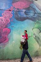 Mexico, Mexico City. Day of the Dead, Dia de los Muertos. Plaza Jamaica market, mural.