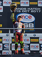 Shane Byrne of Be Wiser Ducati Racing Team with the trophy after winning the MCE British Superbikes in Association with Pirelli round championship 2017 - BRANDS HATCH (GP) at Brands Hatch, Longfield, England on 15 October 2017. Photo by Alan  Stanford / PRiME Media Images.