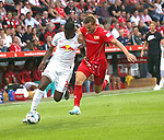 18.08.2019, Stadion an der Wuhlheide, Berlin, GER, 1.FBL, 1.FC UNION BERLIN  VS. RB Leibzig, <br /> DFL  regulations prohibit any use of photographs as image sequences and/or quasi-video<br /> im Bild Marius Buelter (1.FC Union Berlin #15), Nordi Mukiele (RB Leipzig #22)<br /> <br />      <br /> Foto © nordphoto / Engler