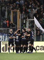 Calcio, Serie A: SS Lazio vs Internazionale Milano, Olympic stadium, Rome, October 29, 2018.<br /> Inter's captain Mauro Icardi celebrates after scoring with his teammates during the Italian Serie A football match between SS Lazio and Inter Milan at Rome's Olympic stadium, on October 29, 2018.<br /> UPDATE IMAGES PRESS/Isabella Bonotto