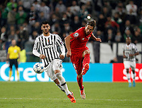 Calcio, Champions League: Gruppo D - Juventus vs Siviglia. Torino, Juventus Stadium, 30 settembre 2015. <br /> Sevilla's Grzegorz Krychowiak, right, is challenged by Juventus' Alvaro Morata during the Group D Champions League football match between Juventus and Sevilla at Turin's Juventus Stadium, 30 September 2015. <br /> UPDATE IMAGES PRESS/Isabella Bonotto