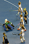 Berlin, Germany, February 10: During the FIH Indoor Hockey World Cup semi-final match between Belarus (dark blue) and Germany (white) on February 10, 2018 at Max-Schmeling-Halle in Berlin, Germany. Final score 2-3. (Photo by Dirk Markgraf / www.265-images.com) *** Local caption ***