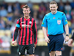 St Johnstone v Real Sociadad...12.07.15  Bayview, Methil (Home of East Fife FC)<br /> Chris Millar back after injury having a laugh with ref John Beaton<br /> Picture by Graeme Hart.<br /> Copyright Perthshire Picture Agency<br /> Tel: 01738 623350  Mobile: 07990 594431