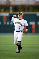 Bradenton Marauders second baseman Mitchell Tolman (5) warms up before a game against the Clearwater Threshers on April 18, 2017 at LECOM Park in Bradenton, Florida.  Clearwater defeated Bradenton 4-2.  (Mike Janes/Four Seam Images)