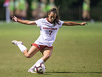 Hawgs Illustrated/BEN GOFF <br /> Madison Louk of Arkansas kicks the ball in the first half vs Texas A&M Thursday, Sept. 20, 2018, at Razorback Field in Fayetteville.