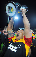 Sona Taumalolo celebrates victory after the Super 15 rugby final between the Chiefs and Sharks at Waikato Stadium, Hamilton, New Zealand on Saturday, 4 July 2012. Photo: Dave Lintott / lintottphoto.co.nz