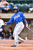 Kingsport Mets shortstop Cecilio Aybar (7) swings at a pitch during a game against the Greeneville Astros at Pioneer Park on July 3, 2016 in Greeneville, Tennessee. The Mets defeated the Astros 11-0. (Tony Farlow/Four Seam Images)
