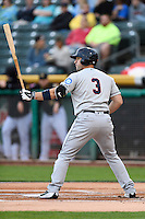 Mike Zunino (3) of the Tacoma Rainiers at bat against the Salt Lake Bees in Pacific Coast League action at Smith's Ballpark on June 13, 2016 in Salt Lake City, Utah. The Rainiers defeated the Bees 3-1.  (Stephen Smith/Four Seam Images)