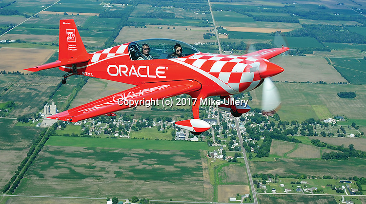 Legendary air show pilot and National Aviation Hall of Fame enshrinee Sean D. Tucker takes WDTN reporter Catherine Ross for a media flight over Fletcher on Wednesday as the area gears up for the 2017 Vectren Dayton Air Show this Saturday and Sunday at the Dayton International Airport.