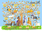Kate, CUTE ANIMALS, LUSTIGE TIERE, ANIMALITOS DIVERTIDOS, paintings+++++Halloween tree 6,GBKM316,#ac#, EVERYDAY
