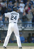 04 October 2009: Seattle Mariners designated hitter Ken Griffey Jr sets up in the batters box for his last at bat of the season against Texas Rangers.  Griffey singled up the middle for a base hit.  Seattle won 4-3 over the Texas Rangers at Safeco Field in Seattle, Washington.