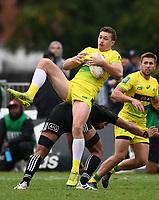 22nd May 2021; Grammar Tec, Auckland New Zealand; All Blacks Sevens versus Australia, Trans-Tasman Sevens;  Australia's Jordan Williams takes the high ball