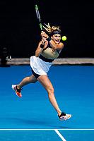 14th February 2021, Melbourne, Victoria, Australia; Aryna Sabalenka of Belarus returns the ball during round 4 of the 2021 Australian Open on February 14, 2020, at Melbourne Park in Melbourne, Australia.