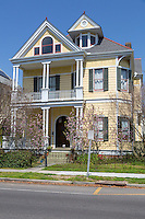 French Quarter, New Orleans, Louisiana.  Three-story House with galleries and Gables in the Garden District.
