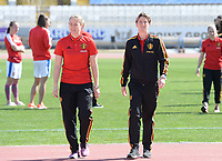 20180228 - LARNACA , CYPRUS :  Belgian Justien Odeurs (left) and Aline Zeler pictured during a women's soccer game between The Belgian Red Flames and the Czech Republic , on wednesday 28 February 2018 at GSZ Stadium in Larnaca , Cyprus . This is the first game in group B for Belgium during the Cyprus Womens Cup , a prestigious women soccer tournament as a preparation on the World Cup 2019 qualification duels. PHOTO SPORTPIX.BE   DAVID CATRY