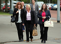 COPY BY TOM BEDFORD<br /> Pictured: Jackie Taylor (C) the mother of Sophie Taylor, arrives with friends and family at Cardiff Crown Court. Monday 24 April 2017<br /> Re: A woman is due to stand trial in connection with the death of a young woman in Cardiff last summer.<br /> Melissa Pesticcio has denied four offences in relation to the death of 22-year-old Sophie Taylor in the early hours of August 22 2016.<br /> 23-year-old Pesticcio entered not guilty pleas to two counts of dangerous driving and two of aiding and abetting her co-defendant Michael Wheeler.<br /> Michael Wheeler, 22, pleaded guilty in December to causing death and serious injury by dangerous driving.<br /> Lewis Hall, a third defendant, was sentenced in January after he admitted intending to pervert the course of justice.