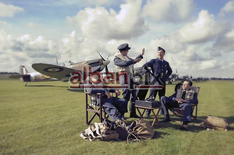 Spitfire reinactment crew at the Battle of Britain airshow in Duxford, Cambridgeshire.