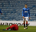 25.02.2021 Rangers v Royal Antwerp: Leon Balogun reacts after being booked