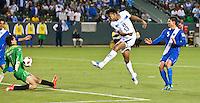 CARSON, CA – June 6, 2011: Guatemalan goalie Ricardo Jerez (1) blocks a shot on goal by Honduran Carlo Costly (13) during the match between Guatemala and Honduras at the Home Depot Center in Carson, California. Final score Guatemala 0, Honduras 0.