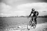 Bernie Eisel (AUT/Dimension Data) at sector 4: Carrefour de l'Arbre (2.1km)<br /> <br /> recon of the 114th Paris - Roubaix 2016