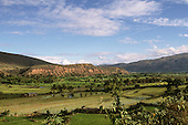 Jaen, Peru. Fertile valley with agricultural terraces flooded as paddy fields to grow rice.