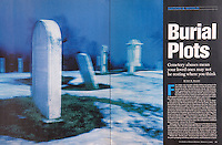 U.S. News & World Report<br /> March 11, 2002<br /> Double Page Editorial Spread<br /> <br /> Photo of a Cemetery in Central New Jersey at Dusk Available for Commercial/Editorial Licensing from Getty Images.  Please go to www.gettyimages.com and search for image # 10162225.