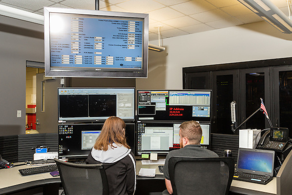 July 6, 2016. Greenville, South Carolina. <br />  In the Gas Turbine Technology Lab there are 5 test cells, all of which can be closely monitored by technicians in front of banks of computers tracking every detail of the combustion cycle.<br />  At the General Electric Gas Turbine factory, engineers  design, produce, test and repair gas turbines for generating electricity. These turbines weigh more than 900,000 pounds and can create internal combustion temperatures up to 2,900 degrees F. Depending on the model, one of the GE turbines can produce enough electricity for half a million American households.