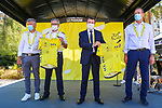 The Tour Village with Christian Estrosi, Mayor of Nice, Bernard Gonzalez, Prefet des Alpes-Maritimes, Christian Prudhomme Tour Director and Bernard Thevenet A.S.O. before the start of Stage 2 of Tour de France 2020, running 186km from Nice Haut Pays to Nice, France. 30th August 2020.<br /> Picture: ASO/Jonathan Biche | Cyclefile<br /> All photos usage must carry mandatory copyright credit (© Cyclefile | ASO/Jonathan Biche)
