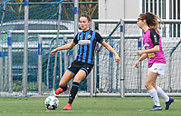 Charlotte Laridon (15 Brugge) pictured with Aalst's Tiffanie Vanderdonckt during a female soccer game between Club Brugge Dames YLA and Eendracht Aalst Ladies on the 9 th matchday of the 2020 - 2021 season of Belgian Scooore Womens Super League , saturday 12 December 2020  in Brugge , Belgium . PHOTO SPORTPIX.BE | SPP | DAVID CATRY