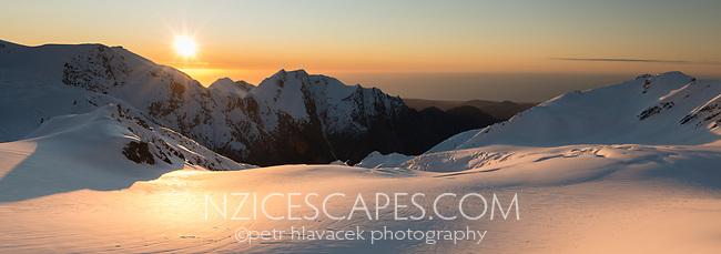 Sunset over Salisbury Snowfield of Franz Josef Glacier, Westland Tai Poutini National Park, West Coast, UNESCO World Heritage Area, New Zealand, NZ