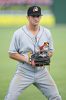 Jeff Roy (5) of the West Virginia Power warms up in the outfield prior to the game against the Kannapolis Intimidators at Intimidators Stadium on July 3, 2015 in Kannapolis, North Carolina.  The Intimidators defeated the Power 3-0 in a game called in the bottom of the 7th inning due to rain.  (Brian Westerholt/Four Seam Images)
