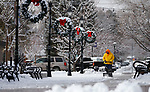 A worker plows snow at McFadden Plaza in downtown Carson City, Nev., on Wednesday, Dec. 5, 2018. <br /> Photo by Cathleen Allison/Nevada Momentum