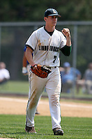 June 12, 2010:  Lindenhurst first baseman Jon McGibbon (7) pumps his fist in celebration vs Valley Central during the NYSPHAA Class-AA State Championship semi-final game at Binghamton University in Binghamton, NY.  McGibbon was seleced in the 29th round by the Seattle Mariners of the 2010 MLB draft but chose to attend Clemson University to play for the Bulldogs.  Photo By Mike Janes/Four Seam Images