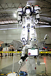 """A SoftBank robot Pepper and life-size model of INGRAM AV-98 of the action movie """"THE NEXT GENERATION - PATLABOR"""" on display during the Niconico Douga fan event at Makuhari Messe International Exhibition Hall on April 25, 2015, Chiba, Japan. The event includes special attractions such as J-pop concerts, Sumo and Pro Wrestling matches, cosplay and manga and various robot performances and is broadcast live on via the video-sharing site. Niconico Douga (in English """"Smiley, Smiley Video"""") is one of Japan's biggest video community sites where users can upload, view, share videos and write comments directly in real time, creating a sense of a shared watching. According to the organizers more than 200,000 viewers for two days will see the event by internet. The popular event is held in all 11 halls of the huge Makuhari Messe exhibition center from April 25 to 26. (Photo by Rodrigo Reyes Marin/AFLO)"""