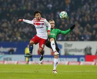 04.02.2018, Football 1. Bundesliga 2017/2018, 21.  match day, Hamburger SV - Hannover 96, Volksparkstadium Hamburg.  Tatsuya Ito (Hamburg)  -  Iver Fossum (Hannover)  *** Local Caption *** © pixathlon<br /> <br /> +++ NED + SUI out !!! +++<br /> Contact: +49-40-22 63 02 60 , info@pixathlon.de