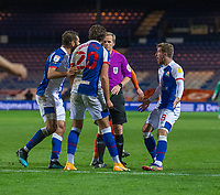 Blackburn Rovers' Ben Brereton (centre) argues with referee Gavin Ward about getting a yellow card for simulation.<br /> <br /> Photographer David Horton/CameraSport<br /> <br /> The EFL Sky Bet Championship - Luton Town v Blackburn Rovers - Saturday 21st November 2020 - Kenilworth Road - Luton<br /> <br /> World Copyright © 2020 CameraSport. All rights reserved. 43 Linden Ave. Countesthorpe. Leicester. England. LE8 5PG - Tel: +44 (0) 116 277 4147 - admin@camerasport.com - www.camerasport.com
