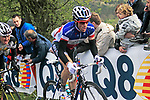 The tail end of the peloton including French National Champion Sylvain Chavanel (FRA) Omega Pharma-Quick Step climbs the Cote de la Redoute during the 98th edition of Liege-Bastogne-Liege, running 257.5km from Liege to Ans, Belgium. 22nd April 2012.  <br /> (Photo by Eoin Clarke/NEWSFILE).