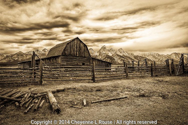 Teton Ranch Barn - Sepia - Grand Teton NP - Wyoming