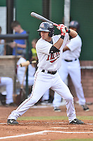 Elizabethton Twins designated hitter Alex Perez (8) swings at a pitch during a game against the Johnson City Cardinals on July 30, 2015 in Elizabethton, Tennessee. The Twins defeated the Cardinals 13-4. (Tony Farlow/Four Seam Images)
