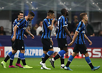 Football Soccer: UEFA Champions League -Group Stage- Group F Internazionale Milano vs Borussia Dortmund, Giuseppe Meazza stadium, October 23, 2019.<br /> Inter's Lautaro Martinez (c) celebrates after scoring with his teammates during the Uefa Champions League football match between Internazionale Milano and Borussia Dortmund at Giuseppe Meazza (San Siro) stadium, on October 23, 2019.<br /> UPDATE IMAGES PRESS/Isabella Bonotto