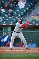 Pawtucket Red Sox right fielder Aneury Tavarez (22) bats during a game against the Buffalo Bisons on May 19, 2017 at Coca-Cola Field in Buffalo, New York.  Buffalo defeated Pawtucket 7-5 in thirteen innings.  (Mike Janes/Four Seam Images)