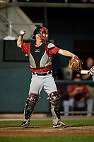 Erie SeaWolves catcher Jake Rogers (7) throws during a game against the Harrisburg Senators on August 29, 2018 at FNB Field in Harrisburg, Pennsylvania.  Harrisburg defeated Erie 5-4.  (Mike Janes/Four Seam Images)