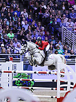 OMAHA, NEBRASKA - APR 1: Audrey Coulter rides Alex during the International Omaha Jumping Grand Prix at the CenturyLink Center on April 1, 2017 in Omaha, Nebraska. (Photo by Taylor Pence/Eclipse Sportswire/Getty Images)