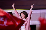 Spanish Prime Minister Pedro and Socialist Party (PSOE) candidate for prime minister Pedro Sanchez delivers a speech with other PSOE leaders like Carmen Calvo (R) during an election night rally in Madrid after Spain held general elections. - Spain's socialist prime minister won snap elections on Sunday but without the necessary majority to govern in a fragmented political landscape marked by the far-right's dramatic eruption in parliament. April 28, 2019.April 28, 2019. (ALTERPHOTOS/A. Perez Meca)