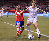 Wendy Acosta, left, of Costa Rica and Lauren Cheney of the United States battle for the ball in the CONCACAF Olympic Qualifying semifinal match at BC Place in Vancouver, B.C., Canada Friday Jan. 27, 2012. The United States won the match 3-0 to earn a berth in 2012 London Olympics.