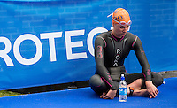 31 MAY 2014 - LONDON, GBR - Katie Hursey (USA) of the USA prepares for the start of the women's 2014 ITU World Triathlon Series round in Hyde Park, London, Great Britain (PHOTO COPYRIGHT © 2014 NIGEL FARROW, ALL RIGHTS RESERVED)